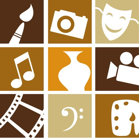 film set: Collection of creative arts icons and logos