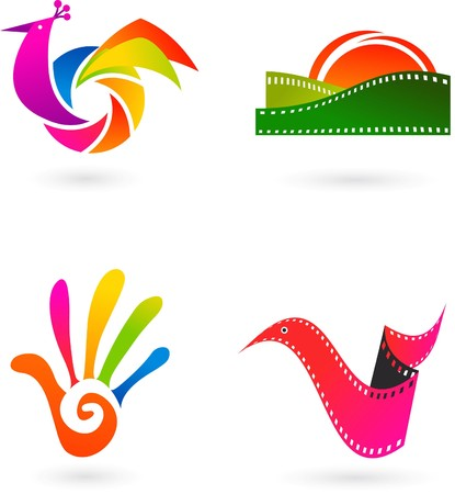 Collection of art, cinema and photo icons and logos Vector