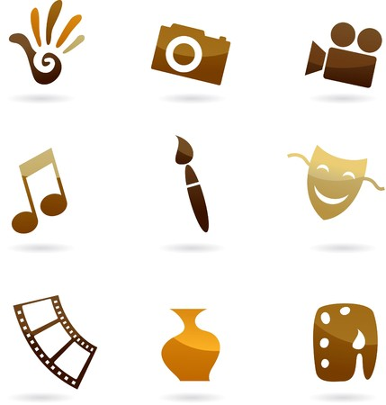 Collection of retro art, cinema and photo icons and logos Vector