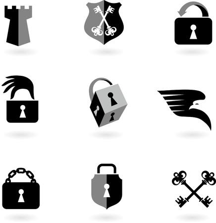Collection des logos et icônes de sécurité noir et blanc.  Logo