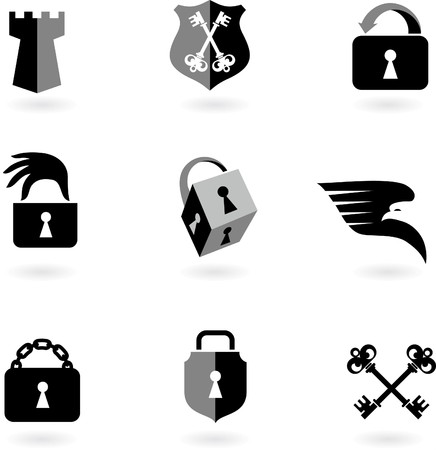 Collection of black and white security icons and logos Vector