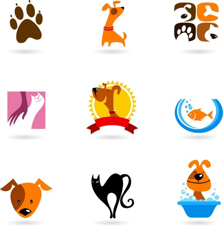animals and pets: Cats, dogs and other pet icons and logos Illustration