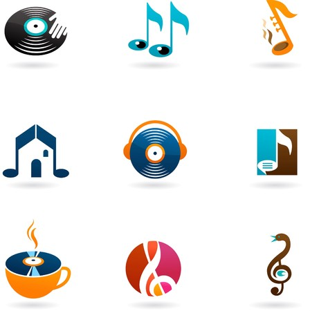 Nine colorful music icons and logos Vector