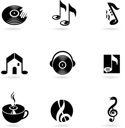 Nine simple music icons and logos Stock Vector - 7560049