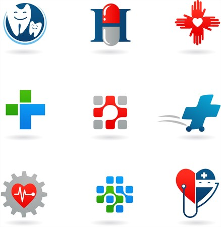Medicine and health-care icons and logos Stock Vector - 7560059