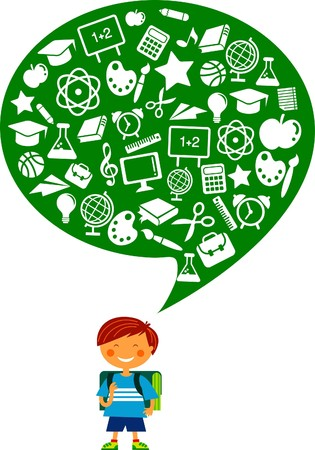 Schoolboy with many education icons Stock Vector - 7560063