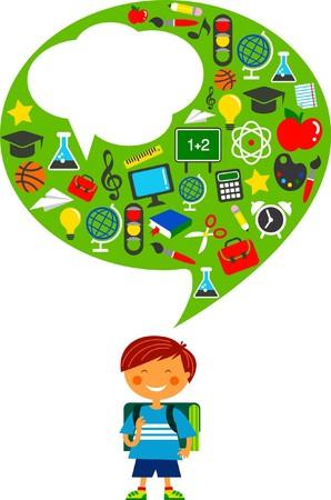 educadores: Colegial con muchos iconos de educaci�n coloridos