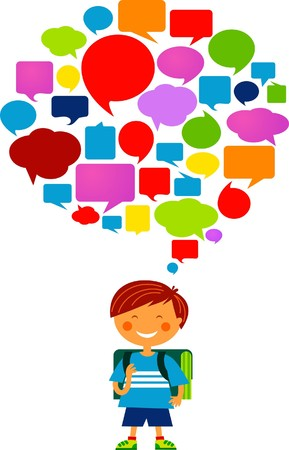 Schoolboy with many thought bubbles Stock Vector - 7560050