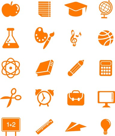 Collection of many educations and science icons and logos  Vector