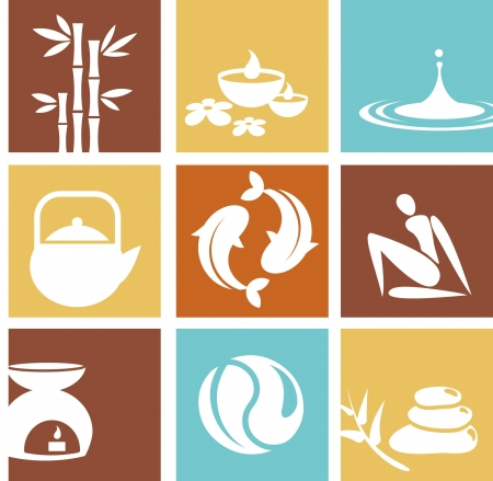 Iconos de Zen y spa y logotipos