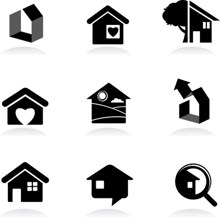 Housing and real-estate icons and logos Stock Vector - 7560046