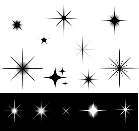 sky stars: Black and white stars