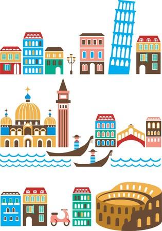 Italy - landmarks and attractions Векторная Иллюстрация