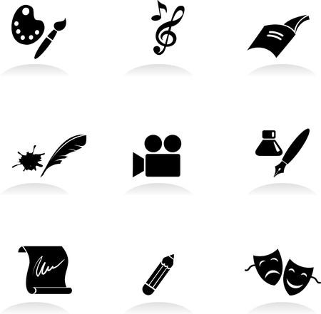 Classic arts icons set Vector