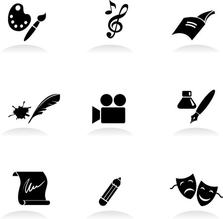 theater sign: Conjunto de iconos de artes cl�sicas  Vectores