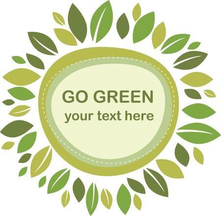 Green leaves retro frame Vector