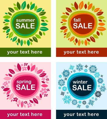 Four seasonal sale poster with floral frame Stock Vector - 7660953