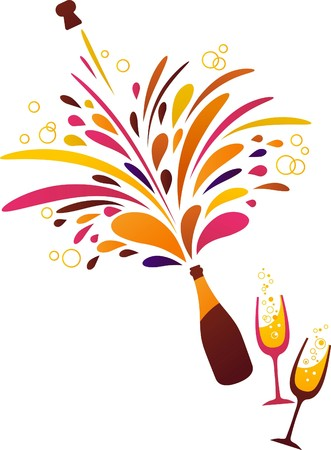botella champagne: Fondo limpio funky de champán de bienvenida