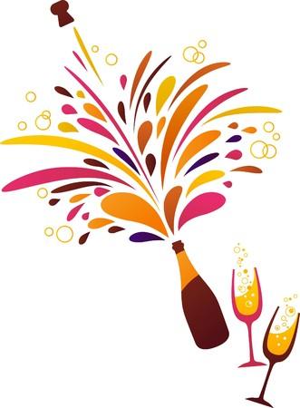bollicine champagne: Sfondo pulito funky splash Champagne Vettoriali