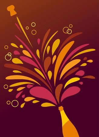 champagne celebration: Champagne splash retro funky background
