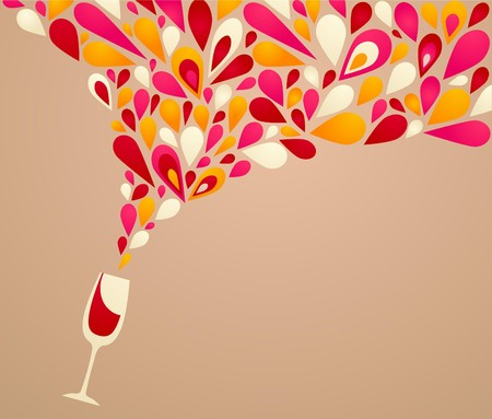 summer drink: Funky colorful retro wine background Illustration