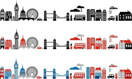 londres autobus: Ilustraci�n de Londres con coloridos iconos de autobuses de dos pisos y edificios de hito