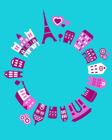 illustration of Paris landmarks with colorful icons of trees and buildings Vector