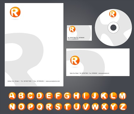 Corporate Identity Template  with custom alphabet - illustration  Vector