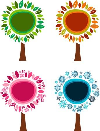 Four trees - four seasons Vector
