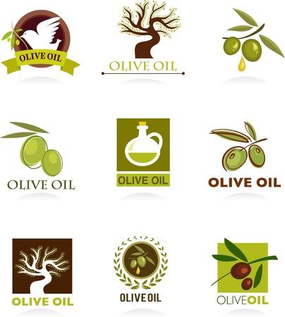 cueillette: Collections d'ic�nes d'olive et les logos Illustration
