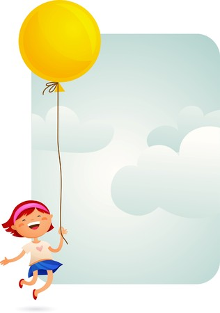 Little Girl with a yellow balloon Stock Vector - 7824800