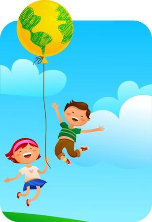 planeta tierra feliz: Salvar la tierra para la imagen del concepto de niños  Vectores