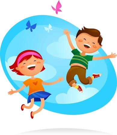 niños felices: Niño feliz y niña saltando