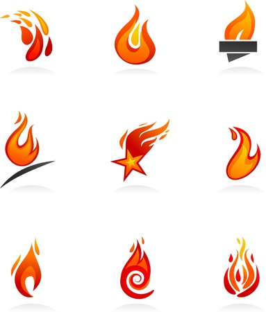 Collection of abstract fire icons and logos Illustration