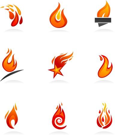 palla di fuoco: Collezione di icone di fuoco astratta e loghi