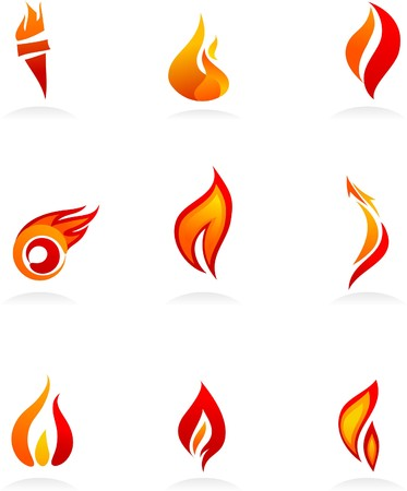 Collection of fire icons and logos Stock Vector - 7824792