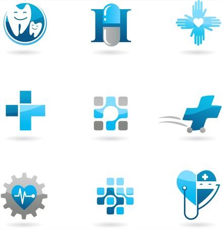 Colección de iconos de medicina y atención de la salud azules y logotipos