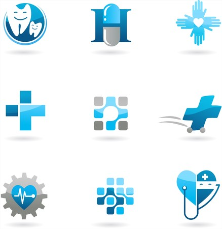 estudiantes medicina: Colecci�n de iconos de medicina y atenci�n de la salud azules y logotipos  Vectores