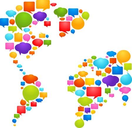 burbujas de pensamiento: Mapa Mundial de burbujas de pensamiento