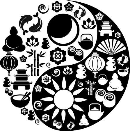 Black and white Yin-Yang with collection of Zen and oriental icons  Vector