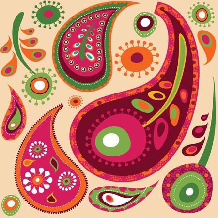 motif cachemire: Patron exotiques color�s de papier peint � Paisley �  Illustration