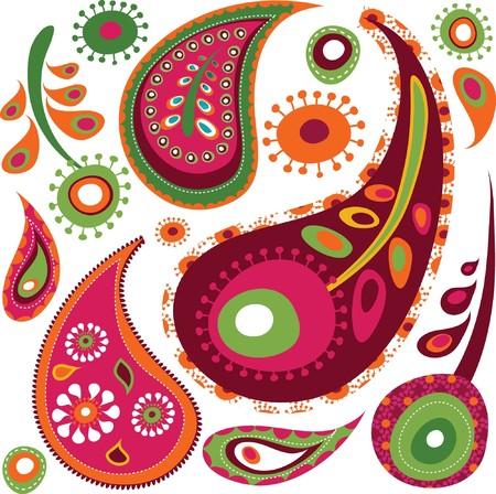 stylishness: Exotic colorful paisley pattern Illustration