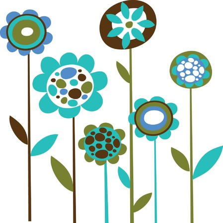 white flower: Grunge blue flower doodles