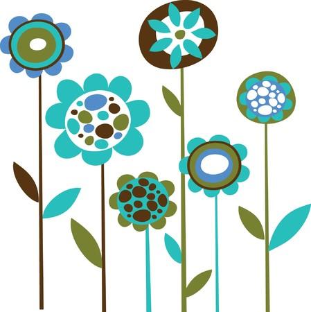 flower concept: Grunge blue flower doodles
