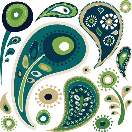 ペルシア: レトロな緑および青ペイズリー柄