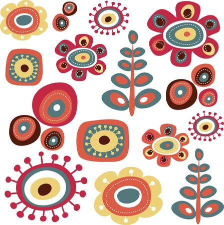 abstract flowers: Cute floral doodle elements
