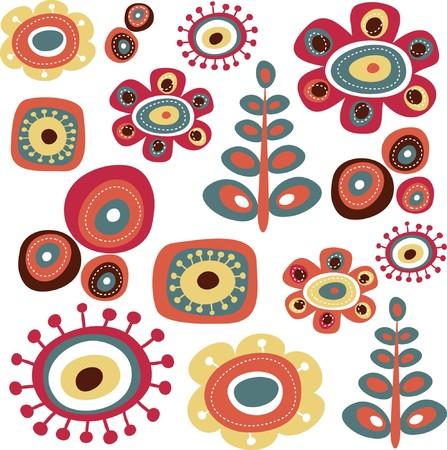 dessin fleur: �l�ments de griffonnage floral mignons