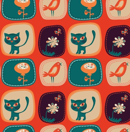 peachy: Cute childish wallpaper with kittens, birds and flowers