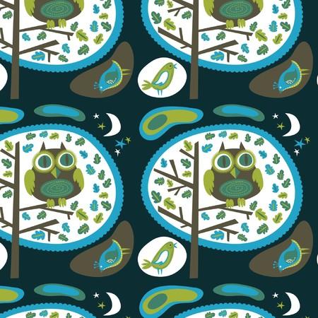 Night owl wallpaper pattern Stock Vector - 7824859