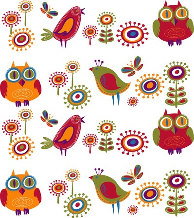 Flowers and birds background Stock Vector - 7824875